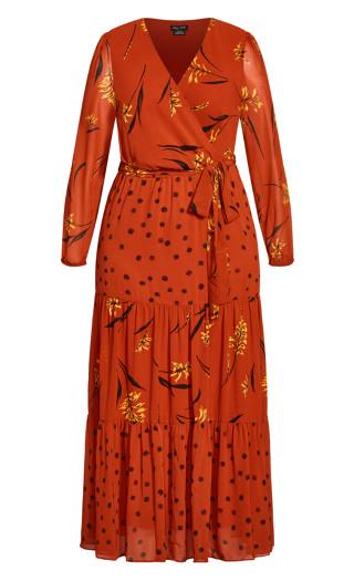 Turning Leaves Maxi Dress - rust