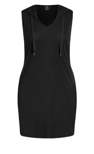 V Hoodie Dress - black