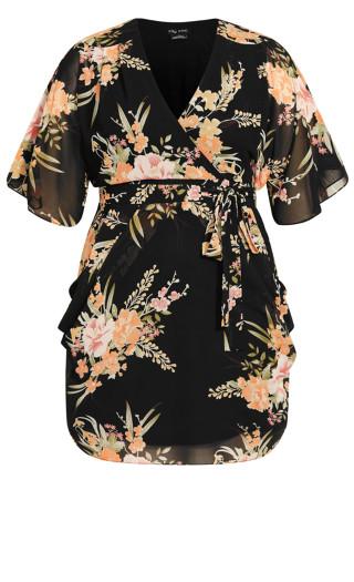 Grand Floral Dress - black