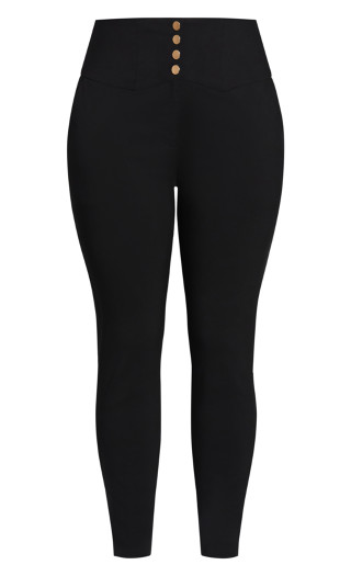 Poised Button Pant - black