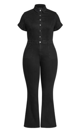 Denim Flare Jumpsuit - black wash
