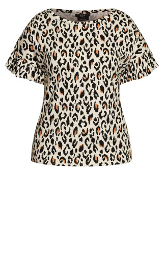 Animal Flutter Tee - leopard