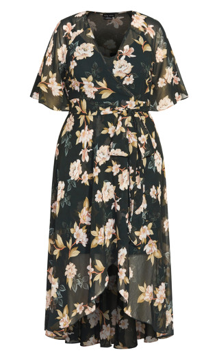 Deep Magnolia Maxi Dress - forest