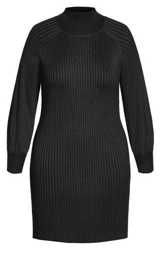 Balloon Knit Dress - black