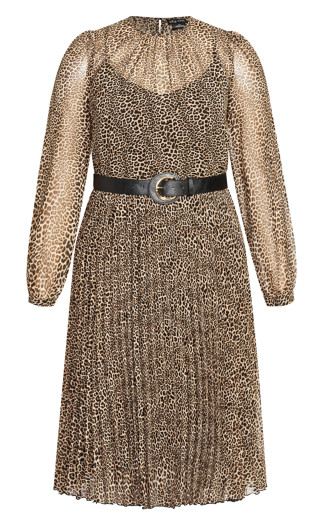 Belted Leopard Dress - leopard print