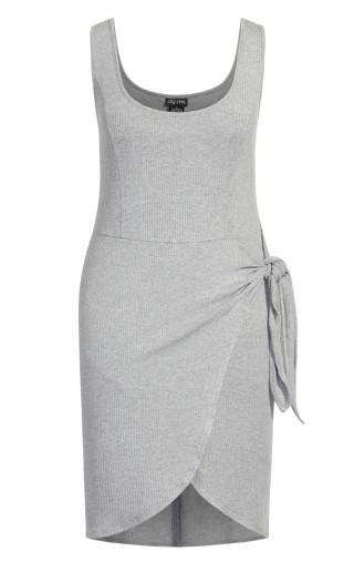 Obsession Rib Dress - charcoal