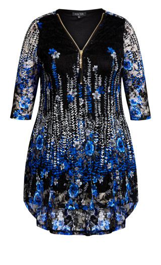 Remy Lace Zip Up Top - blue