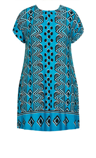 Ruby Placement Dress - teal