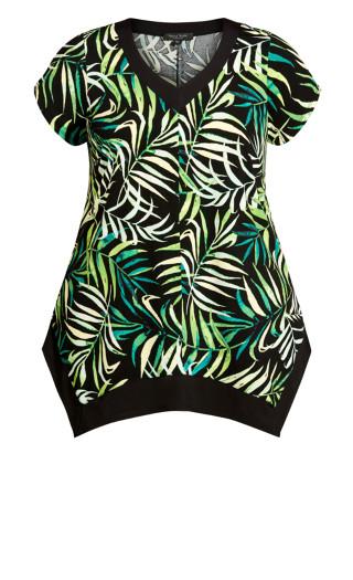 Colette Print Tunic - green palm