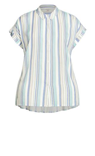Bowling Shirt - teal stripe