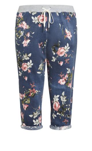Jenny Knit Crop Pant - indigo floral