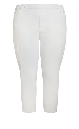 Pull On Ripped Jean - white