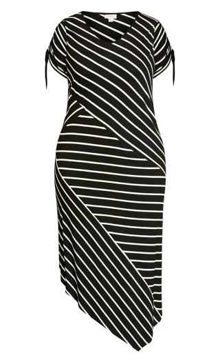 Knit Shirttail Dress - black