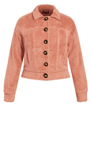 Teddy Button Jacket - rose punch