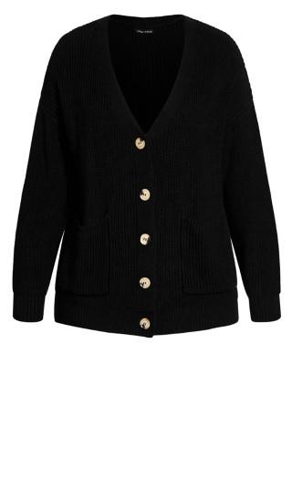 Sweet Button Cardigan - black