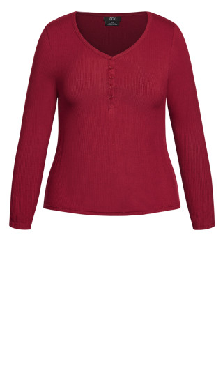 Button Long Sleeve Top - ruby
