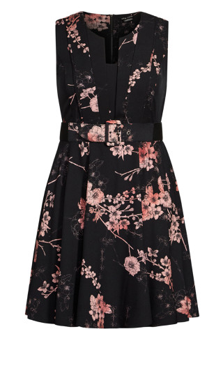 Bold Blossom Dress - black