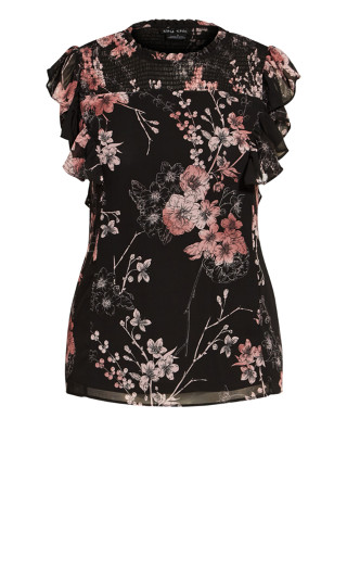 Shirred Blossom Top - black