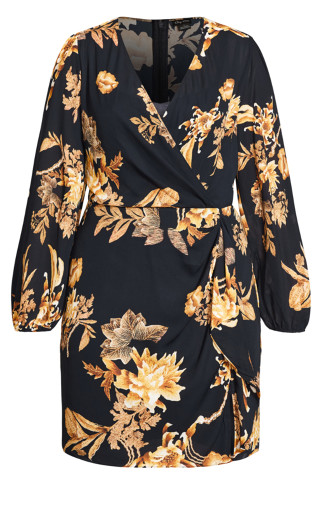 Regal Floral Dress - navy