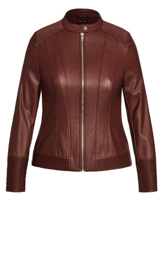 Ribbed Biker Jacket - truffle