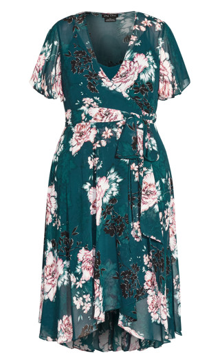 Blossom Short Sleeve Dress - jade