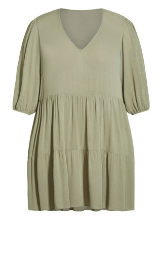 Chelsea Tier Dress - olive