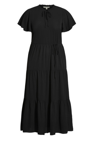 Happy Tier Plain Maxi Dress - black