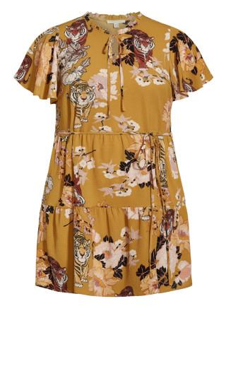 Happy Tier Print Dress - mustard