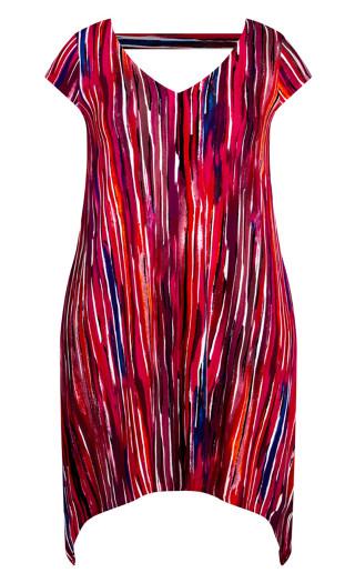 Knit Print Dress - berry stripe