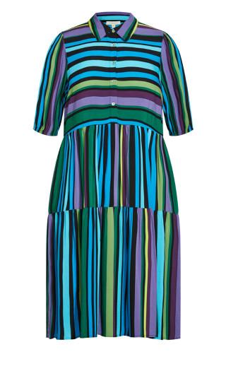 Majesty Midi Dress - aqua stripe