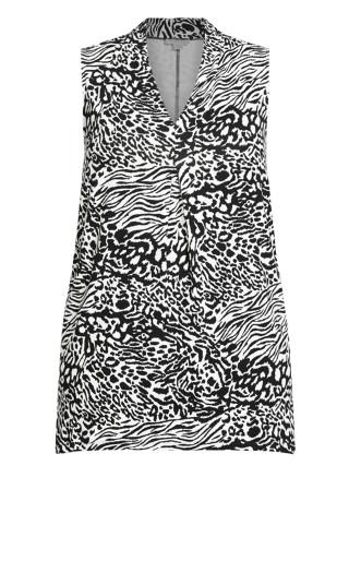 Aria Pleat Print Top - zebra