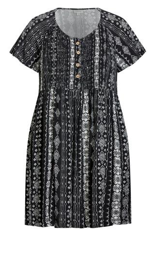 Libby Shirred Dress - mono print