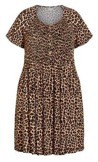 Libby Shirred Dress - leopard