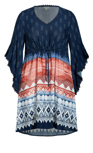 Riley Ruffle Sleeve Dress - navy print