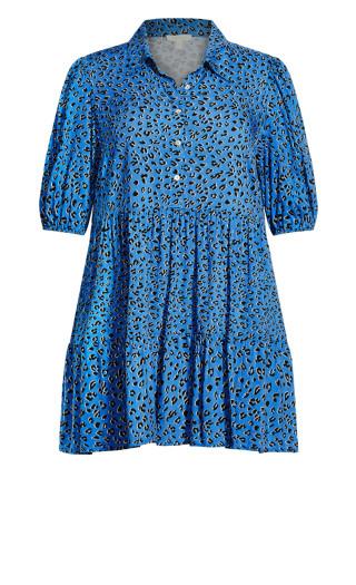 Majesty Mini Dress - blue animal