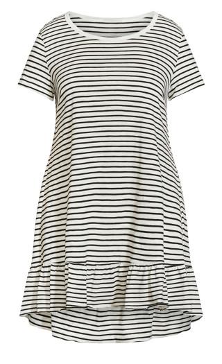 Perla Frill Stripe Dress - ivory