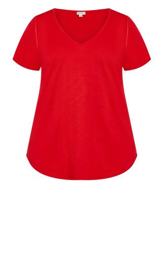 Flutter Sleeve Plain Tee - red