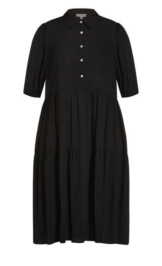 Majesty Plain Midi Dress - black