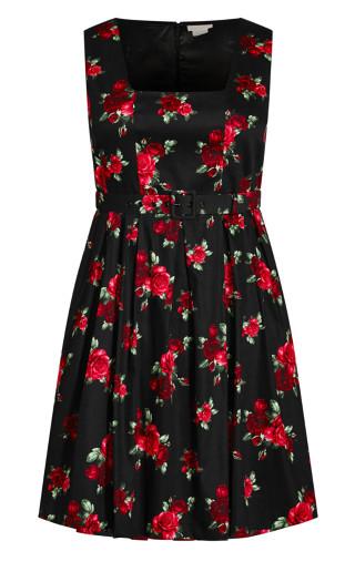 Vintage Rose Dress - black