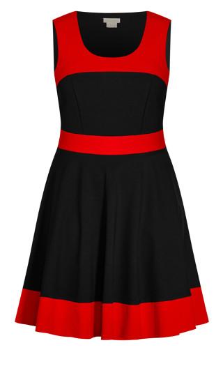 Retro Splice Dress - red