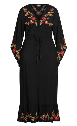 Embroidered Folklore Maxi Dress - black