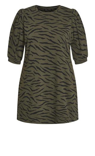Animal Vibin Dress - khaki