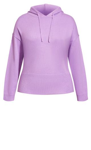 Cosy Knit Hoodie - lavender