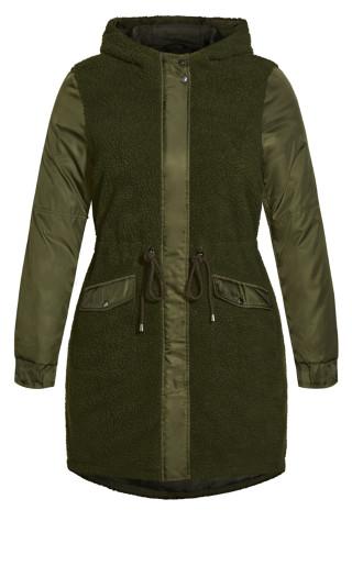 Fluffy Longline Jacket - khaki