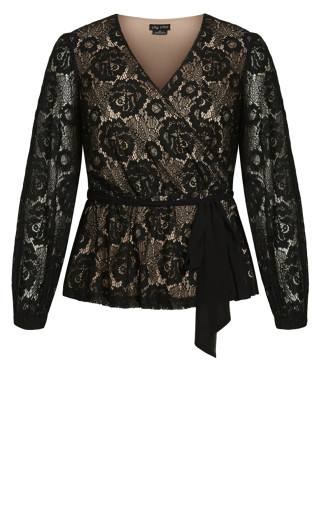 Lace Fly Away Top - black