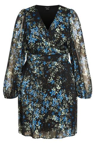 Blue Ditsy Dress - blue