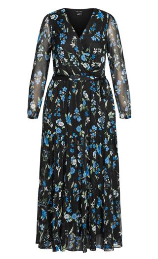 Blue Blossom Maxi Dress - black