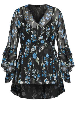 Blue Blossom Top - black