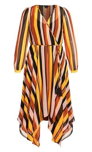 Gold Stripe Maxi Dress - yellow