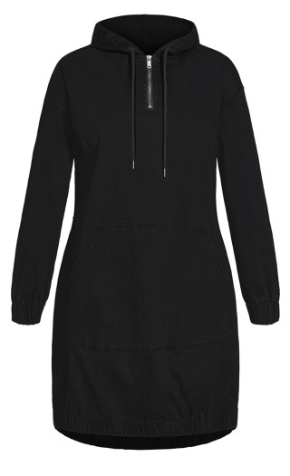 Denim Hoodie Dress - black